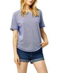 Warehouse Blue Casual Stripe T-shirt