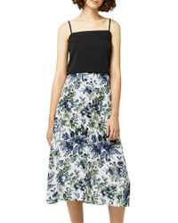 Warehouse Multicolor Lily Print Midi Skirt