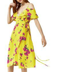 Warehouse Yellow Delia Flower Frill Wrap Dress