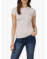 Ted Baker Pink Jacii Frill Neck Fitted T-shirt