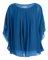 Max Studio - Blue Angel Sleeve Pleated Blouse - Lyst