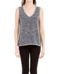 Max Studio Blue Sleeveless Tweedy Top