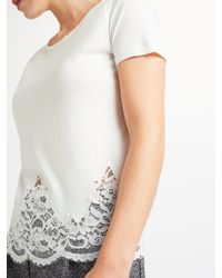 Marella White Ocean Lace Hem T-shirt