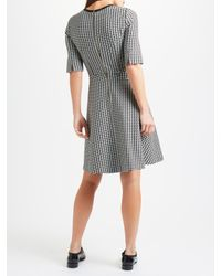 Marella Black Recent Houndstooth Fit And Flare Dress