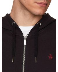 Original Penguin   Black Raised Rib Pique Hooded Sweatshirt for Men   Lyst