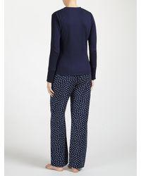 John Lewis Blue Henley Ribbed Jersey Pyjama Top
