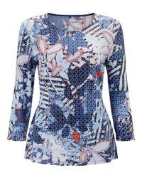 Gerry Weber Blue 3/4 Sleeve Printed Jersey Top