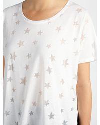 Maison Scotch White Burnout Star Print T-shirt