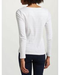 John Lewis White Boat Neck Stripe Long Sleeve T-shirt