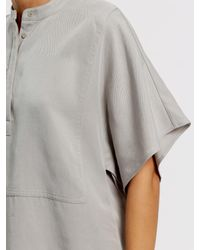 Jaeger Gray Stitch Detail Casual Blouse