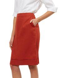 Jaeger Red Linen Hem Detail Skirt