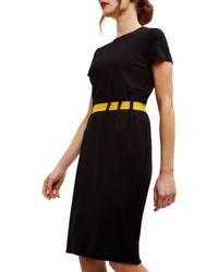 Jaeger Black Ponte Gathered Belt Dress
