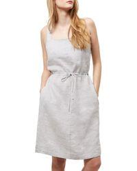 Jaeger Gray Linen Paper Bag Dress