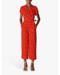 Whistles Red Daisy Chain Frill Jumpsuit