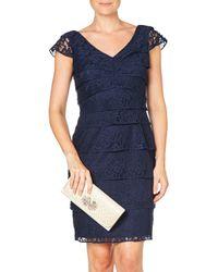 Adrianna Papell - Blue Shutter Tuck Lace Sheath Dress - Lyst