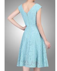 Jolie Moi Blue Sweetheart Neck 50s Lace Dress