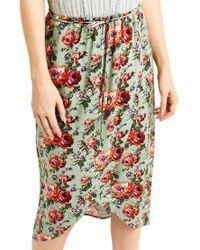 Oasis Green Rose 2 In 1 Midi Dress