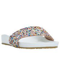 Dune | White Loveheart Beaded Slider Sandals | Lyst