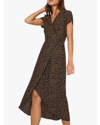 Warehouse Black Animal Print Wrap Dress