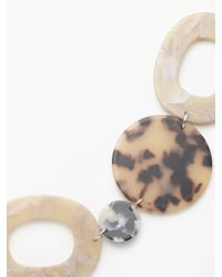 One Button - Multicolor Long Oval Marble Element Necklace - Lyst