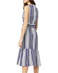 Warehouse | Blue Stripe Wrap Dress | Lyst