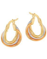 Ib&b Multicolor 9ct Gold Three Colour Hoop Earrings