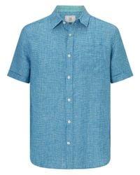 John Lewis Blue Linen Micro Check Short Sleeve Shirt for men