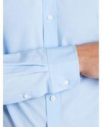 John Lewis Blue Fine Stripe Long Sleeve Tailored Fit Shirt for men