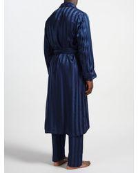 Derek Rose Blue For John Lewis Silk Robe for men