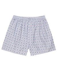Sunspel Blue Classic Diver Print Cotton Boxer Shorts for men
