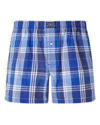 Polo Ralph Lauren | Blue Plaid Woven Cotton Boxers for Men | Lyst
