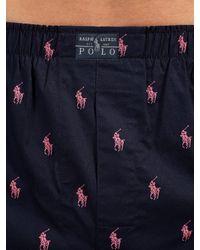 Ralph Lauren Blue Polo Woven Cotton Boxers for men