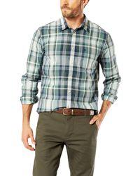 Dockers Green Poplin Check Laundered Slim Fit Shirt for men