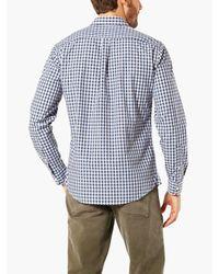 Dockers Blue Poplin Gingham Laundered Shirt for men