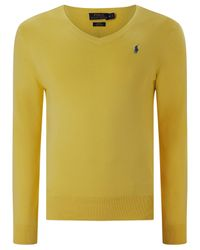 Polo Ralph Lauren | Black Slim Fit V Neck Jumper for Men | Lyst