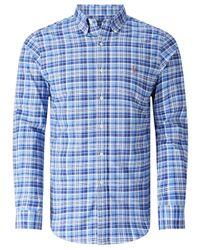Polo Ralph Lauren Blue Slim Fit Button Down Pin Point Collar Sport Shirt for men