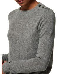 Toast Gray Long Sleeve Button Detail Jumper