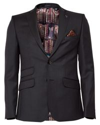 Ted Baker | Black Rivlinj Jacquard Wool Tailored Fit Suit Jacket for Men | Lyst