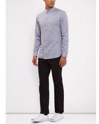Jaeger Blue Brushed Twill Long Sleeve Shirt for men