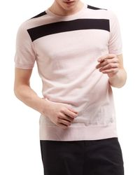 Jaeger Pink Lou Dalton Merino T-shirt for men