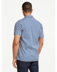 Hartford Blue Parrot Print Short Sleeve Shirt for men
