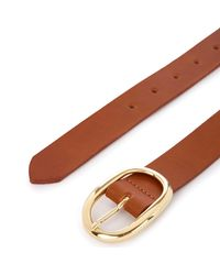 Oasis Brown Leather Oval Buckle Belt