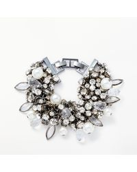 John Lewis - Metallic Crystal And Faux Pearl Statement Bracelet - Lyst