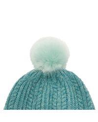 Joules - Blue Bobble Lambswool Blend Bobble Hat - Lyst