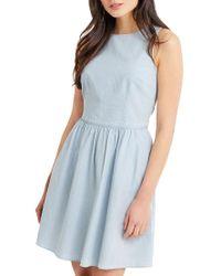 Oasis Blue Ticking Stripe Tie Back Dress