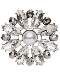 John Lewis   Gray Glass Crystal Flower Brooch   Lyst