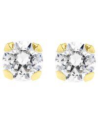 Ib&b | Metallic 9ct Gold Round Cubic Zirconia Stud Earrings | Lyst