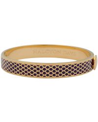 Halcyon Days - Purple 18ct Gold Plated Enamel Salamander Bangle - Lyst