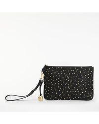 bell&fox Black Pebble Leather Embroidered Clutch