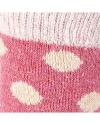 John Lewis Pink Wool And Silk Blend Spot Ankle Socks